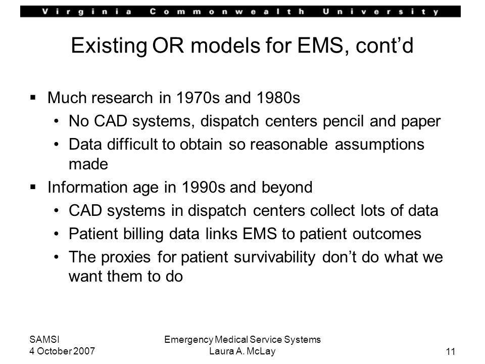 Existing OR models for EMS, cont'd