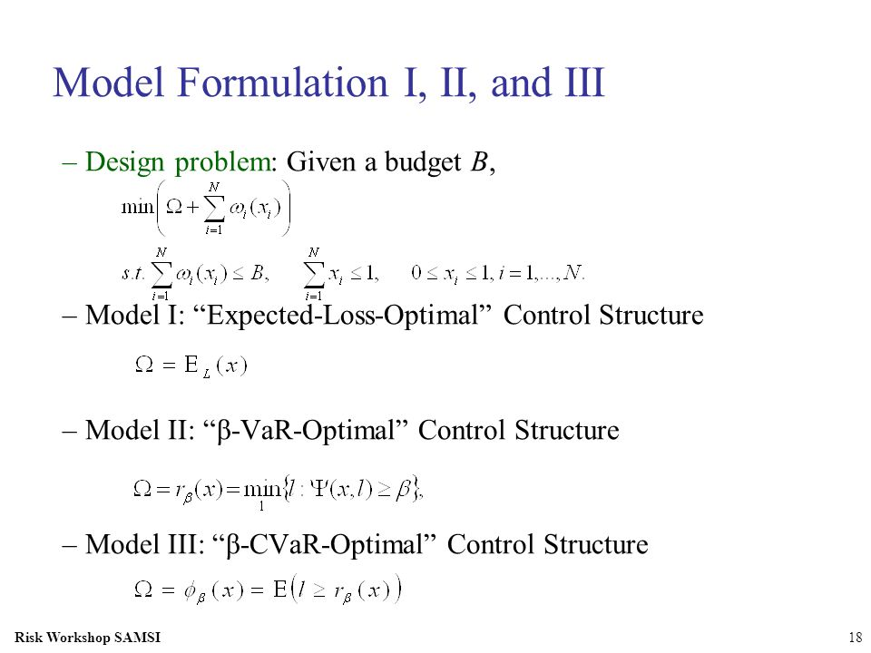 Model Formulation I, II, and III