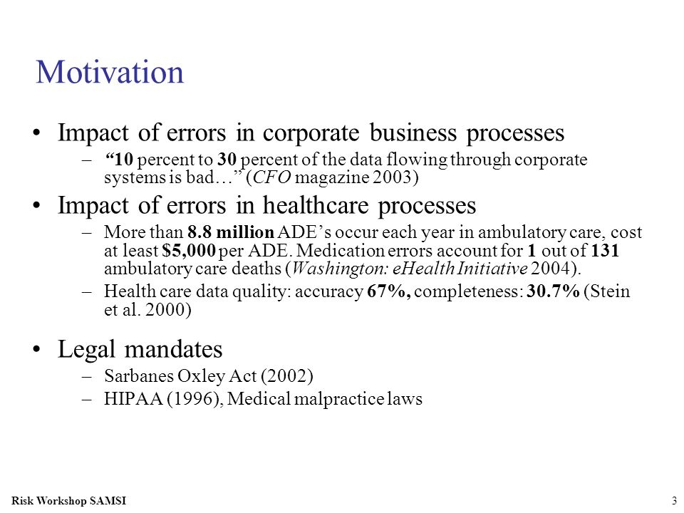 Motivation Impact of errors in corporate business processes