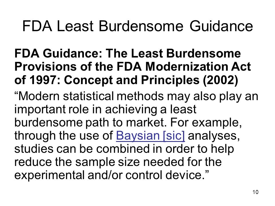 FDA Least Burdensome Guidance