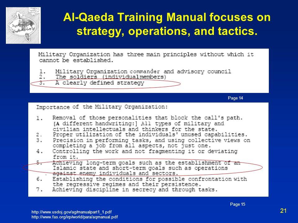Al-Qaeda Training Manual focuses on strategy, operations, and tactics.