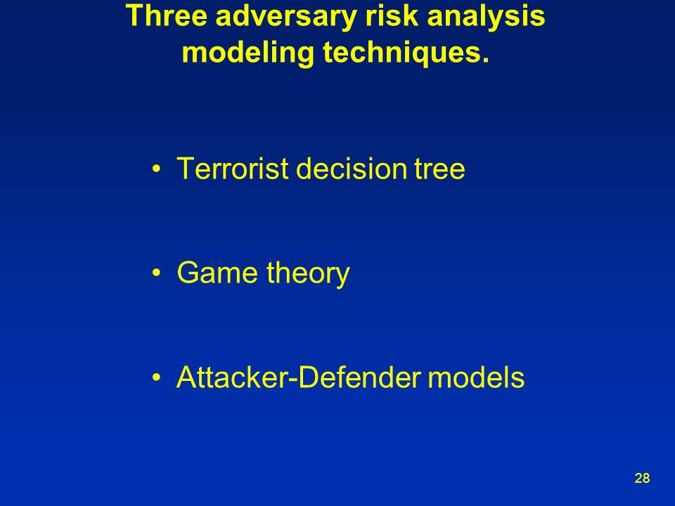 Three adversary risk analysis modeling techniques.