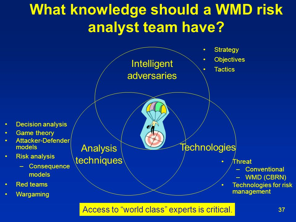 What knowledge should a WMD risk analyst team have