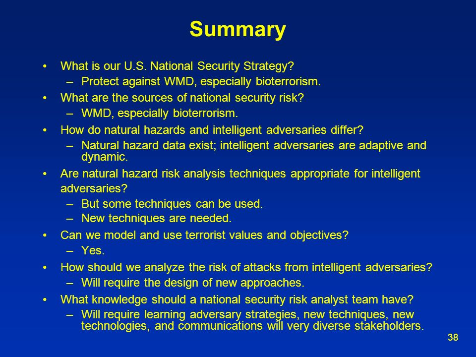 Summary What is our U.S. National Security Strategy