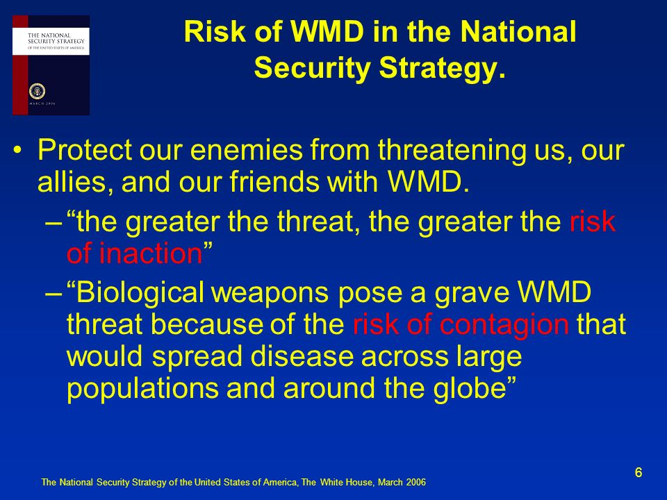 Risk of WMD in the National Security Strategy.