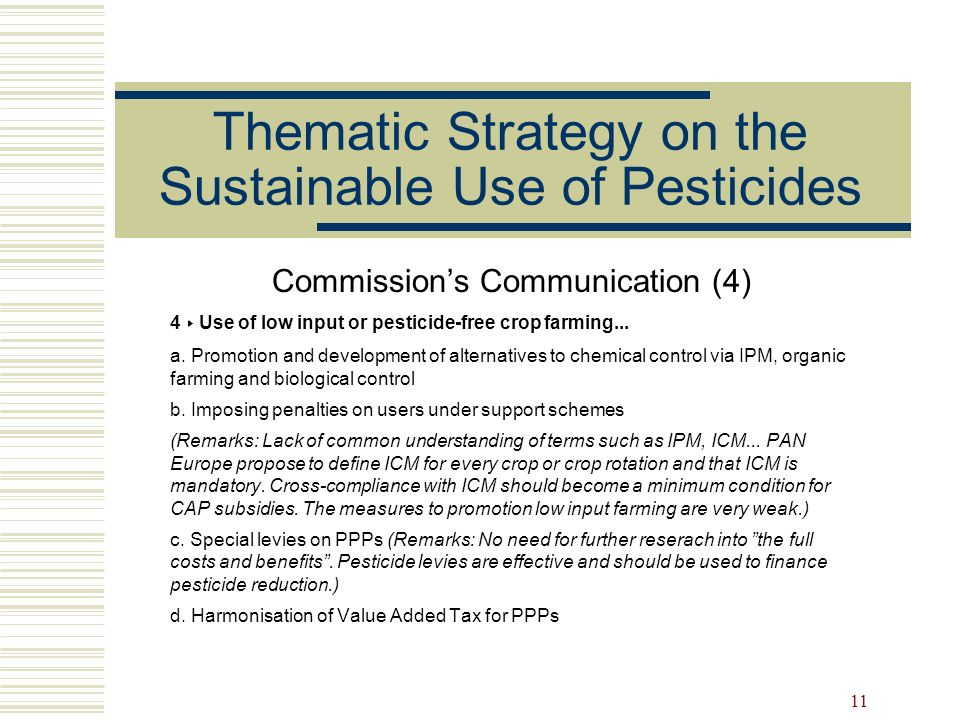 Thematic Strategy on the Sustainable Use of Pesticides