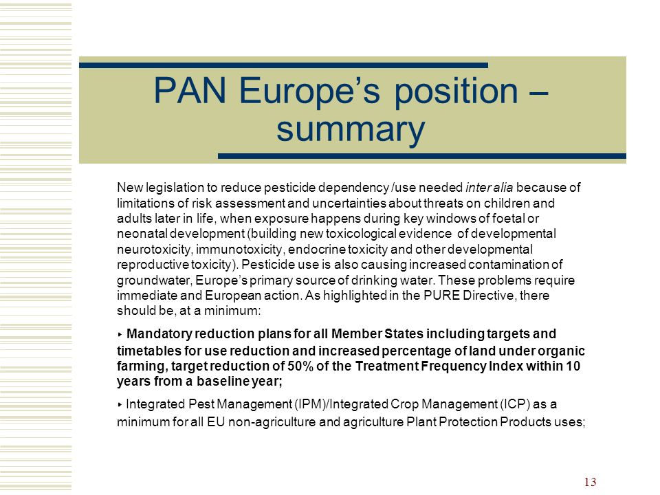 PAN Europe's position – summary