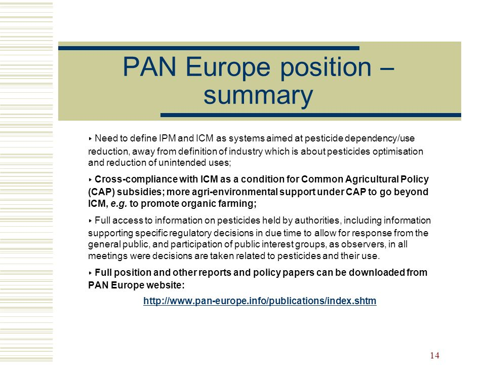 PAN Europe position – summary