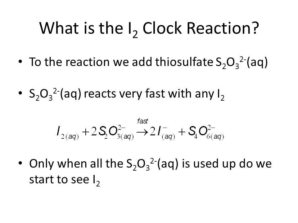 method of initial rates iodine clock Search demonstration experiment on video landolt reaction - iodine clock kinetics objective: effect of concentration on the rate of a reaction peter keusch.