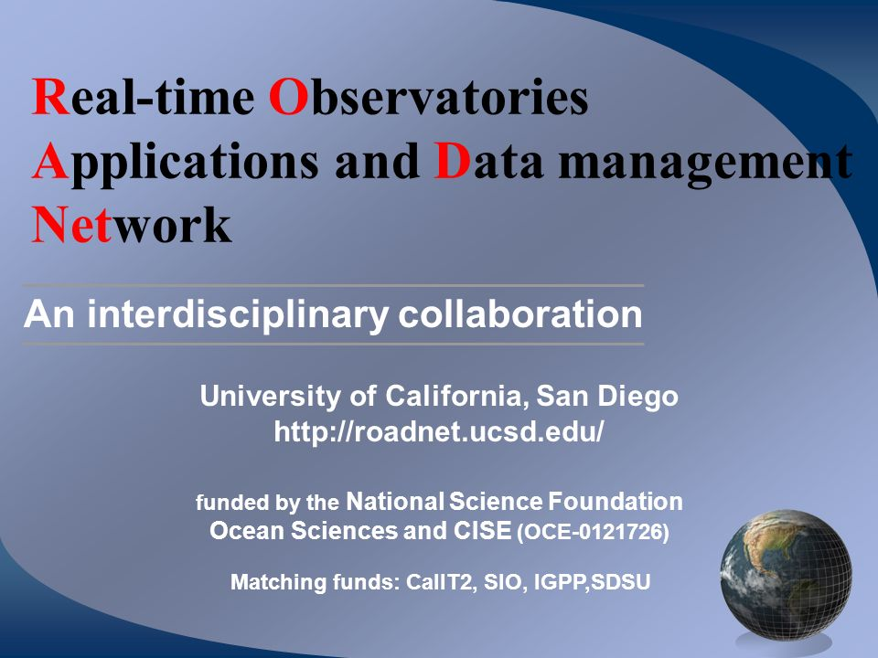 Real-time Observatories Applications and Data management Network