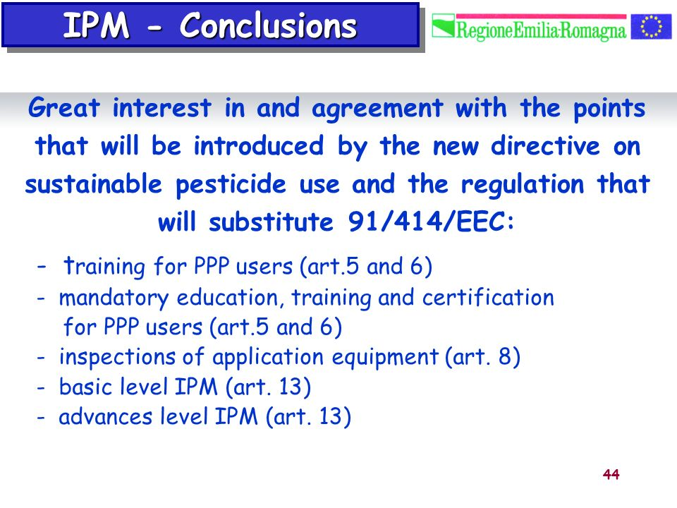 IPM - Conclusions