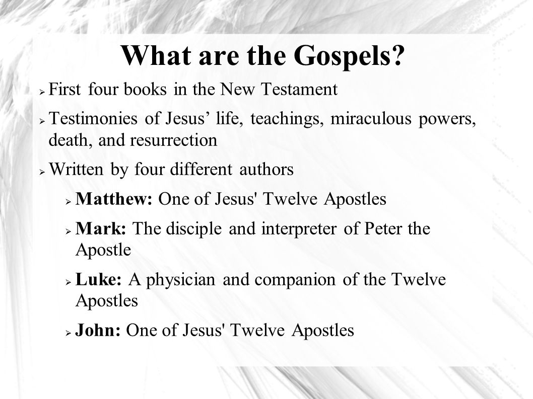 The different encounters with jesus christ in the four gospels of the new testaments