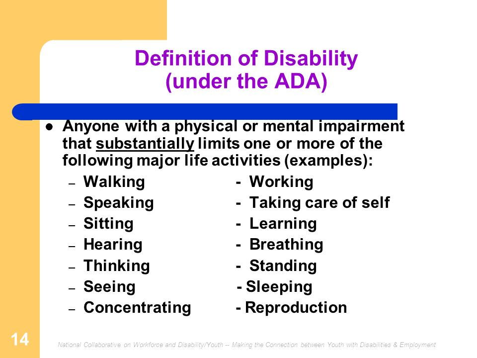 Definition of Disability (under the ADA)