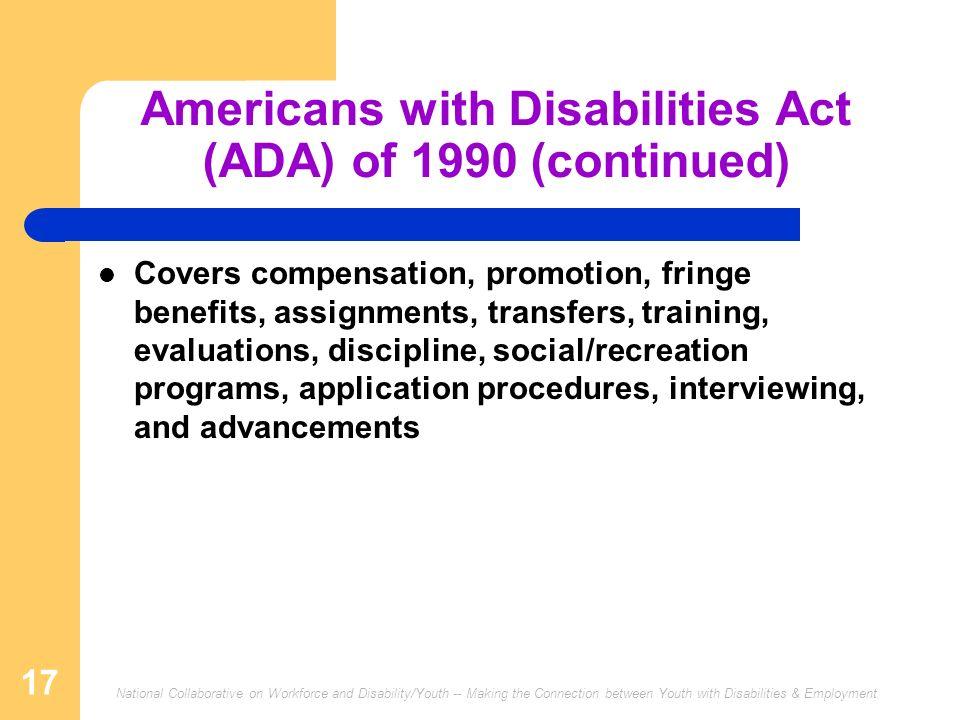 Americans with Disabilities Act (ADA) of 1990 (continued)