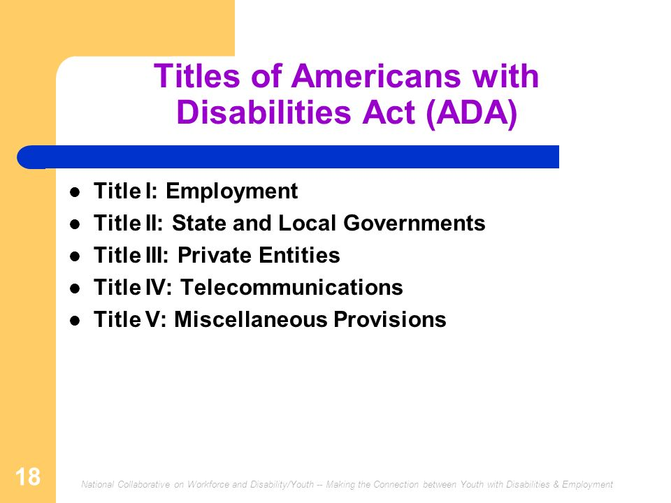 Titles of Americans with Disabilities Act (ADA)