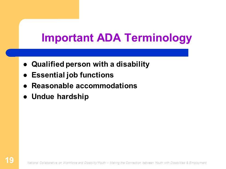 Important ADA Terminology