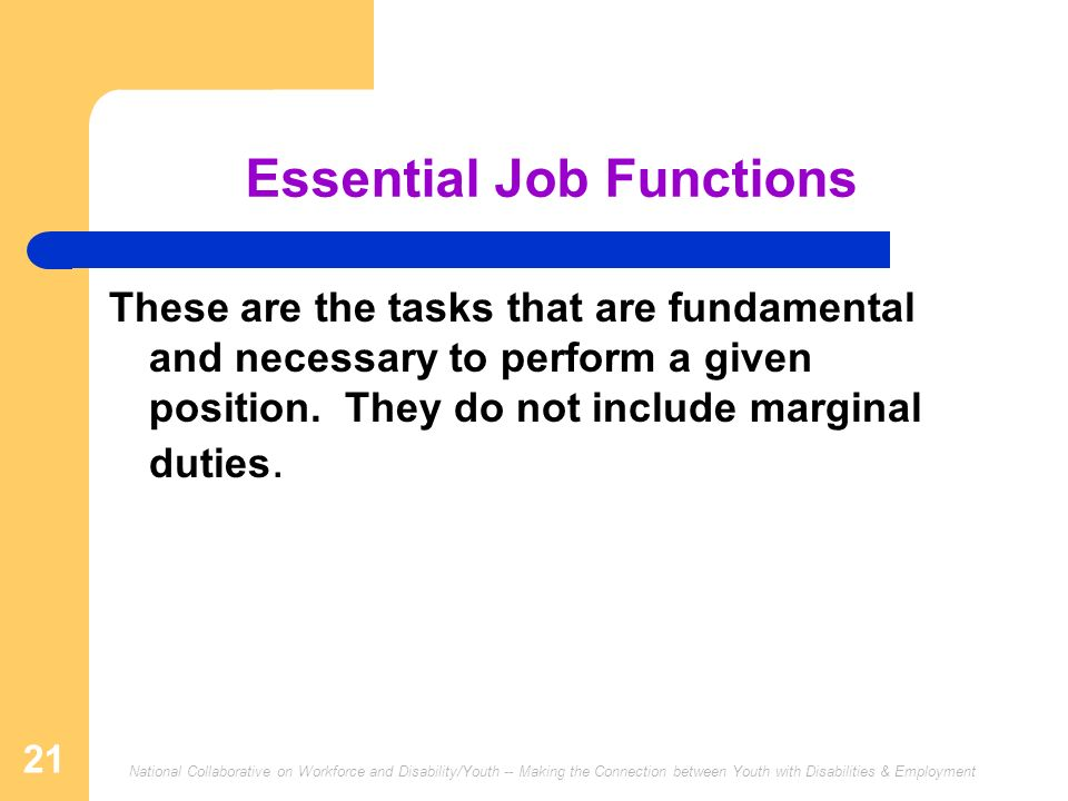 Essential Job Functions