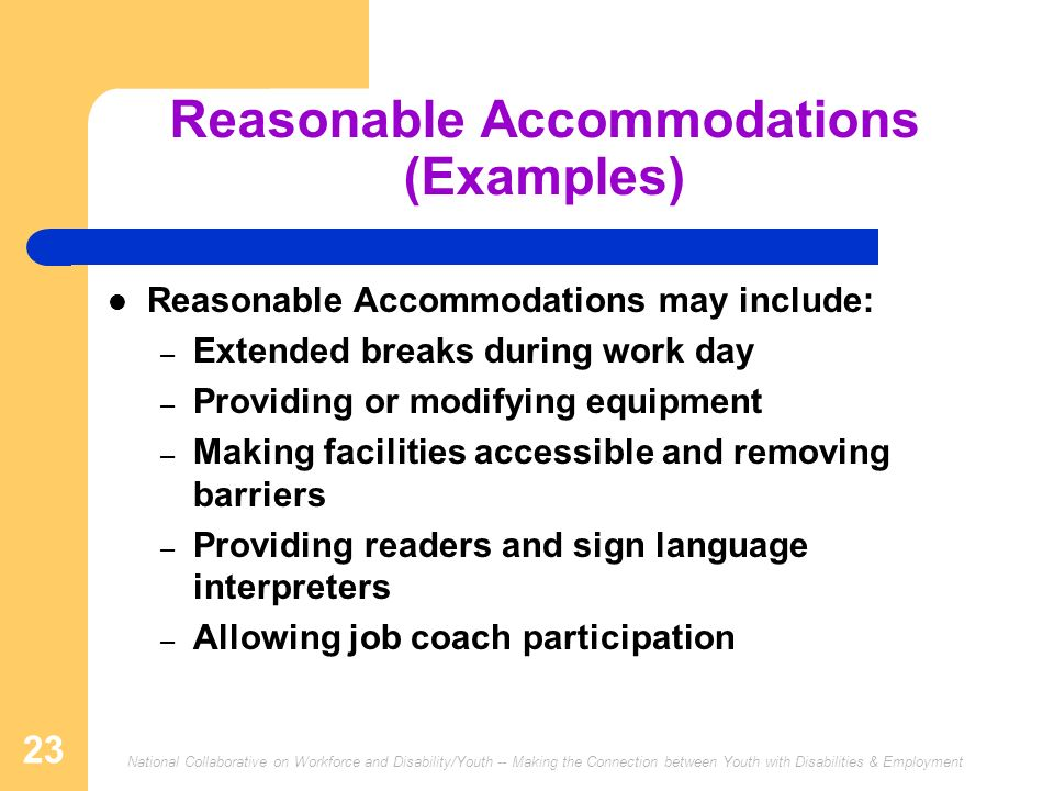 Reasonable Accommodations (Examples)