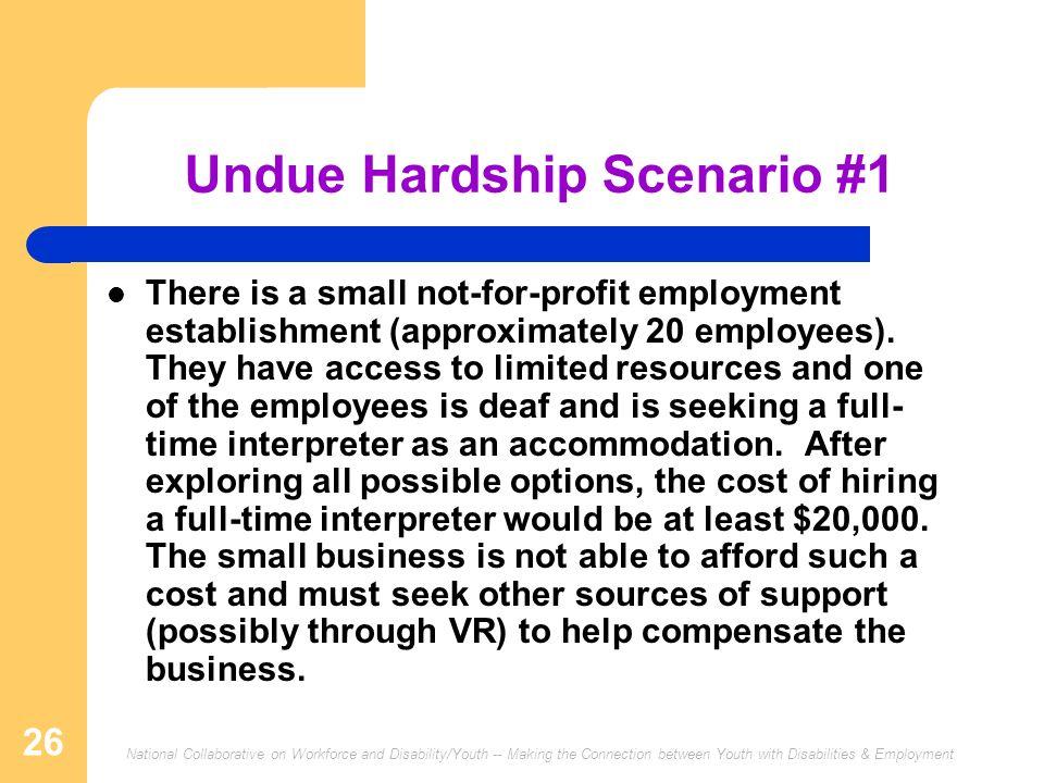 Undue Hardship Scenario #1
