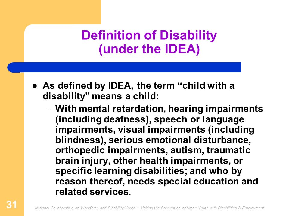 Definition of Disability (under the IDEA)