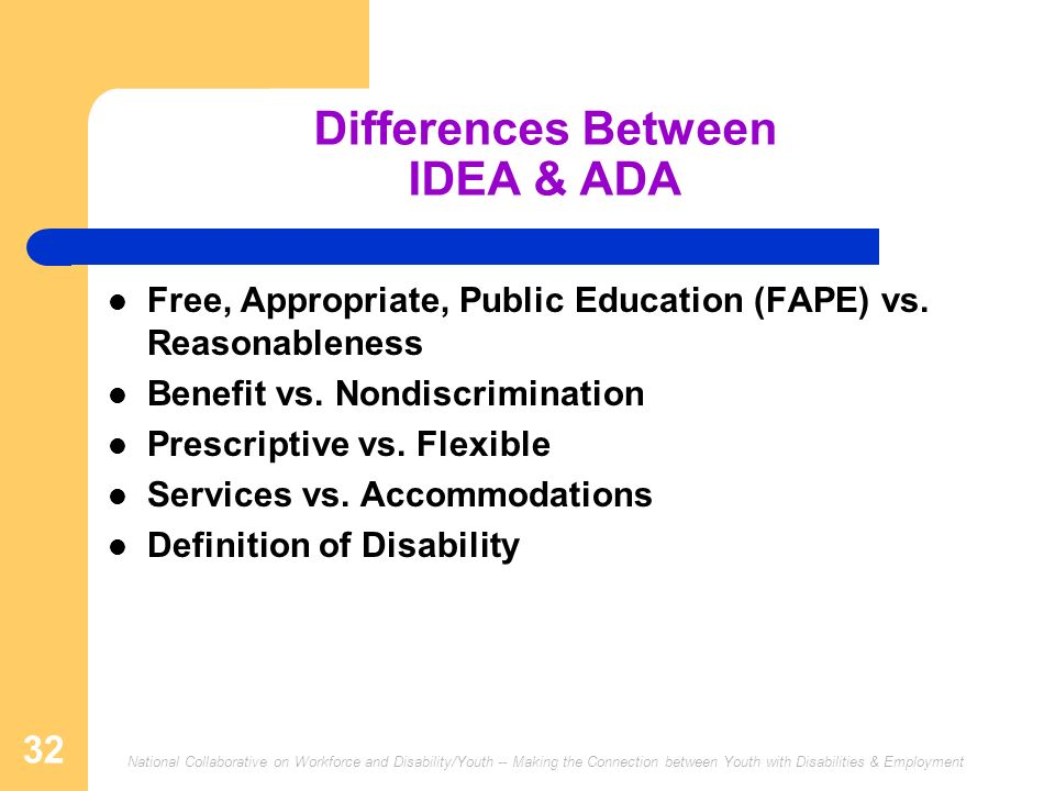 Differences Between IDEA & ADA