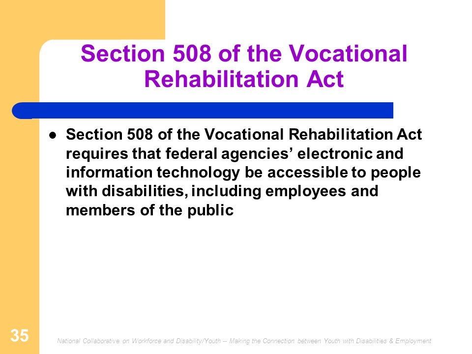 Section 508 of the Vocational Rehabilitation Act