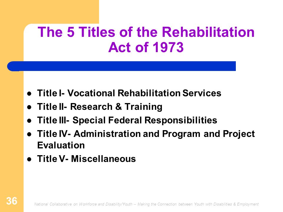 The 5 Titles of the Rehabilitation Act of 1973