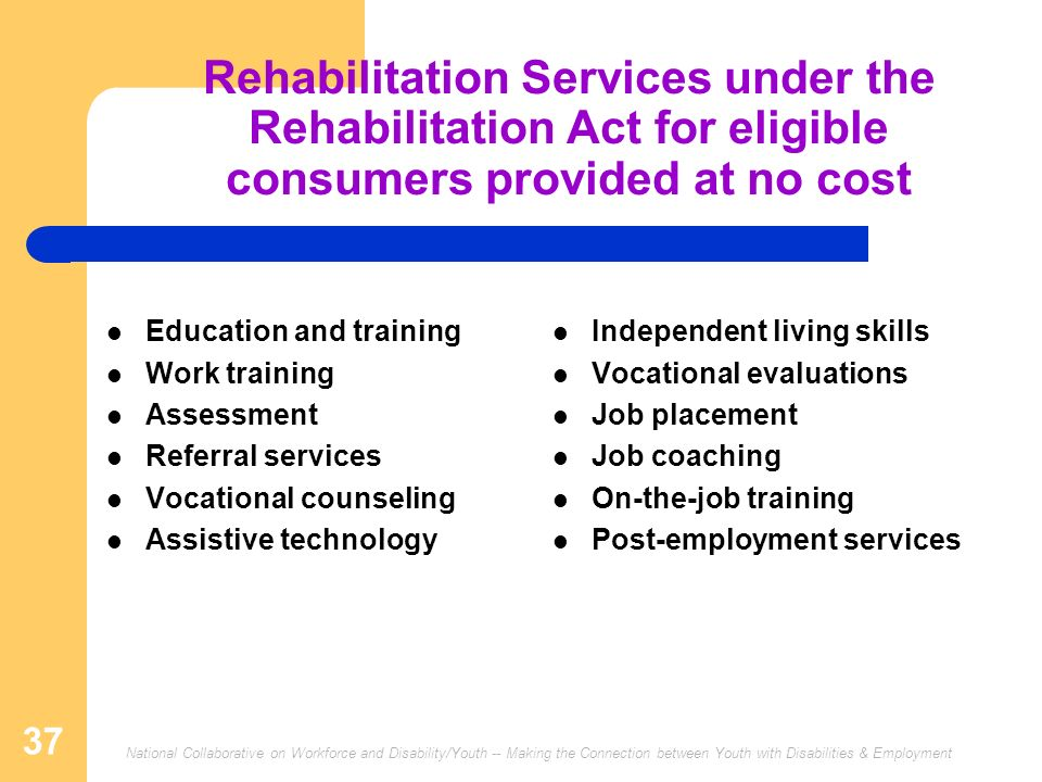 Rehabilitation Services under the Rehabilitation Act for eligible consumers provided at no cost