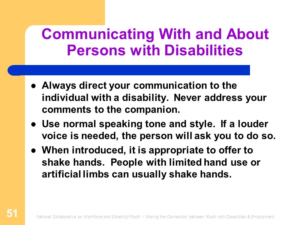 Communicating With and About Persons with Disabilities