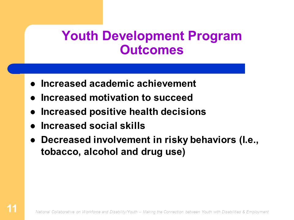Youth Development Program Outcomes