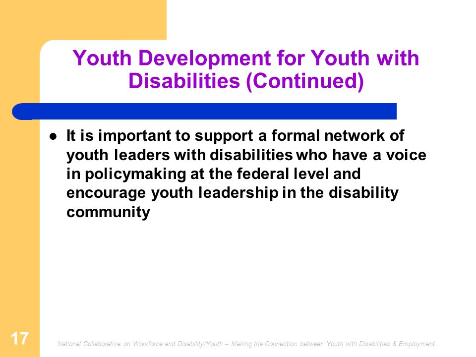 Youth Development for Youth with Disabilities (Continued)