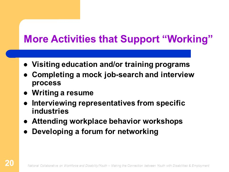 More Activities that Support Working