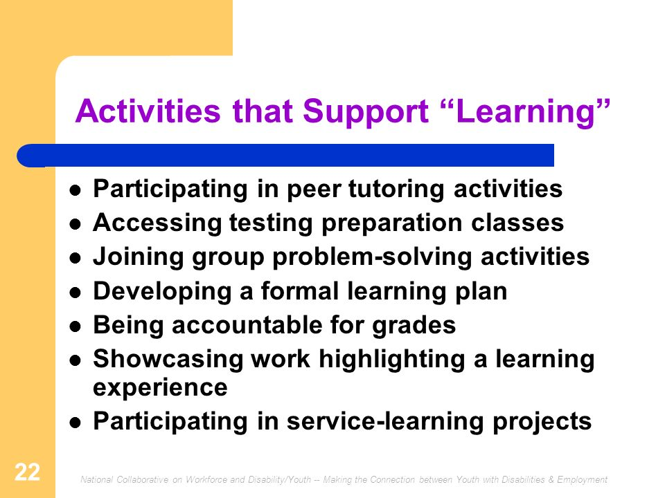 Activities that Support Learning