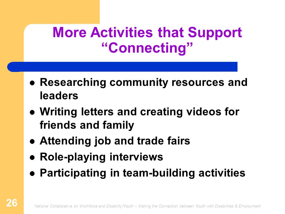 More Activities that Support Connecting