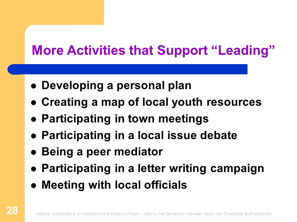 More Activities that Support Leading