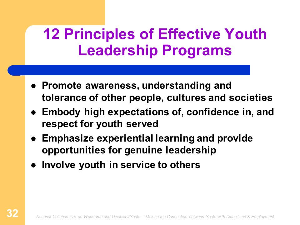 12 Principles of Effective Youth Leadership Programs