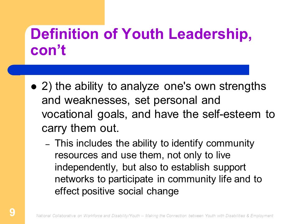 Definition of Youth Leadership, con't