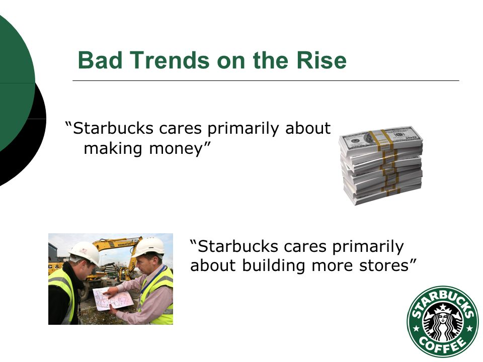 the rise of starbucks Last year, starbucks' profits reached $28 billion on revenues of $19 billion, both record highs but schultz isn't singularly focused on the traditional bottom line he's a dynamic model of a progressive ceo who's as animated by social issues and employee welfare as he is profit margins.