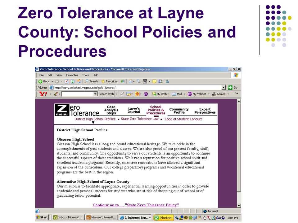 Zero Tolerance at Layne County: School Policies and Procedures