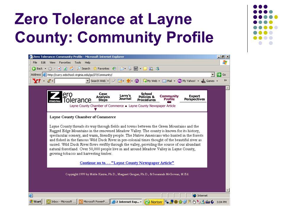 Zero Tolerance at Layne County: Community Profile