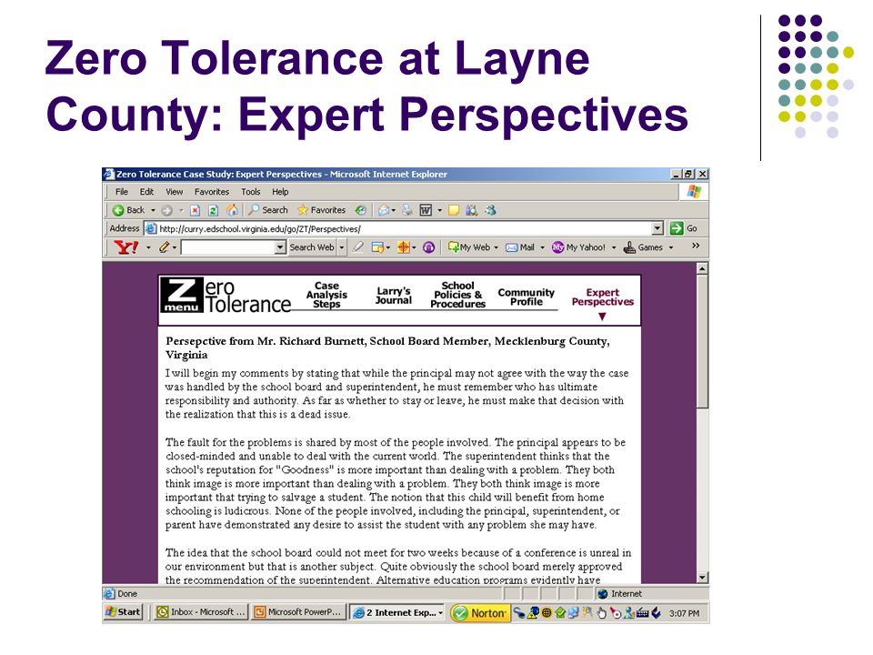 Zero Tolerance at Layne County: Expert Perspectives