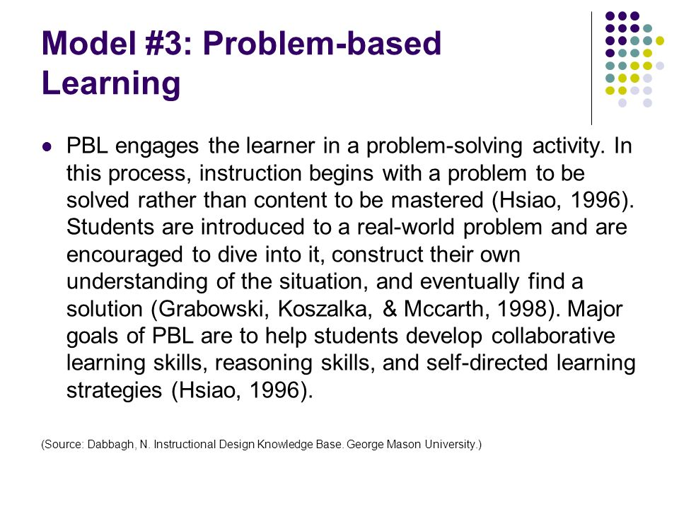 Model #3: Problem-based Learning