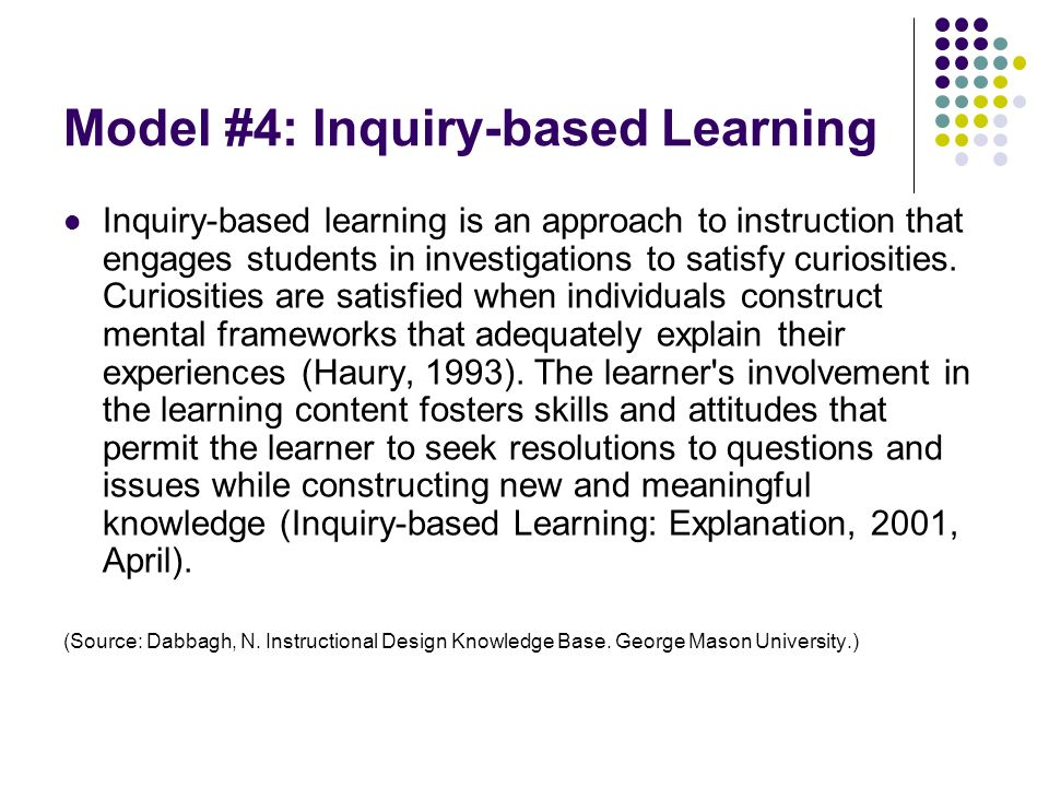 Model #4: Inquiry-based Learning