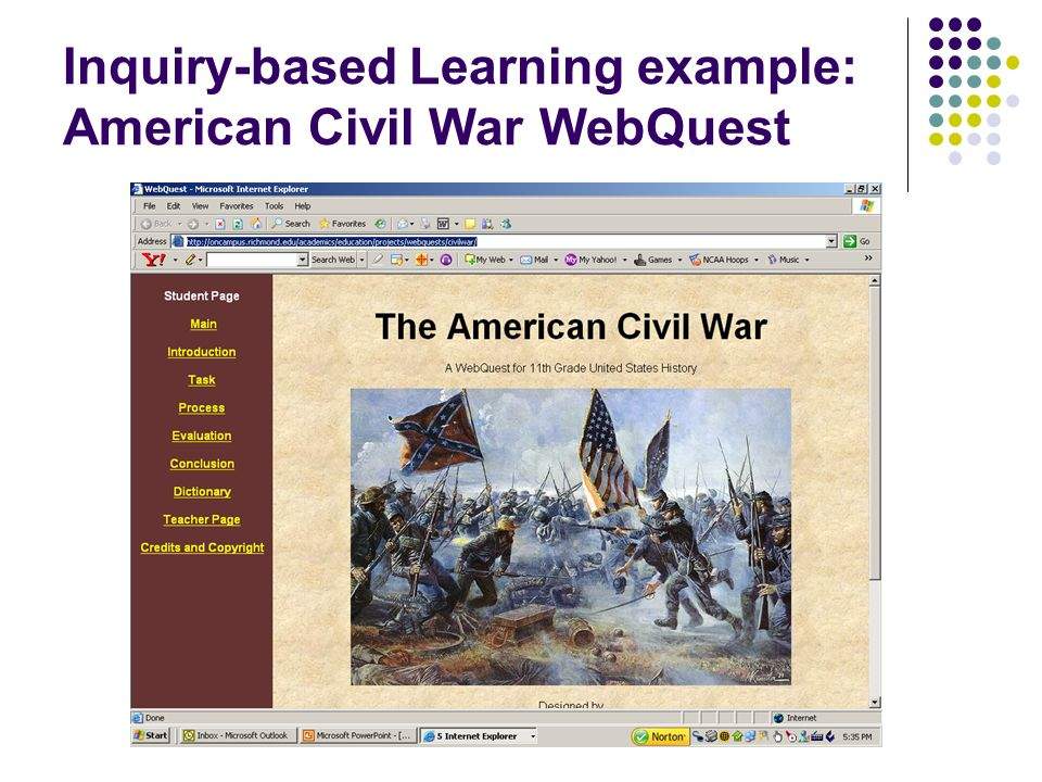Inquiry-based Learning example: American Civil War WebQuest