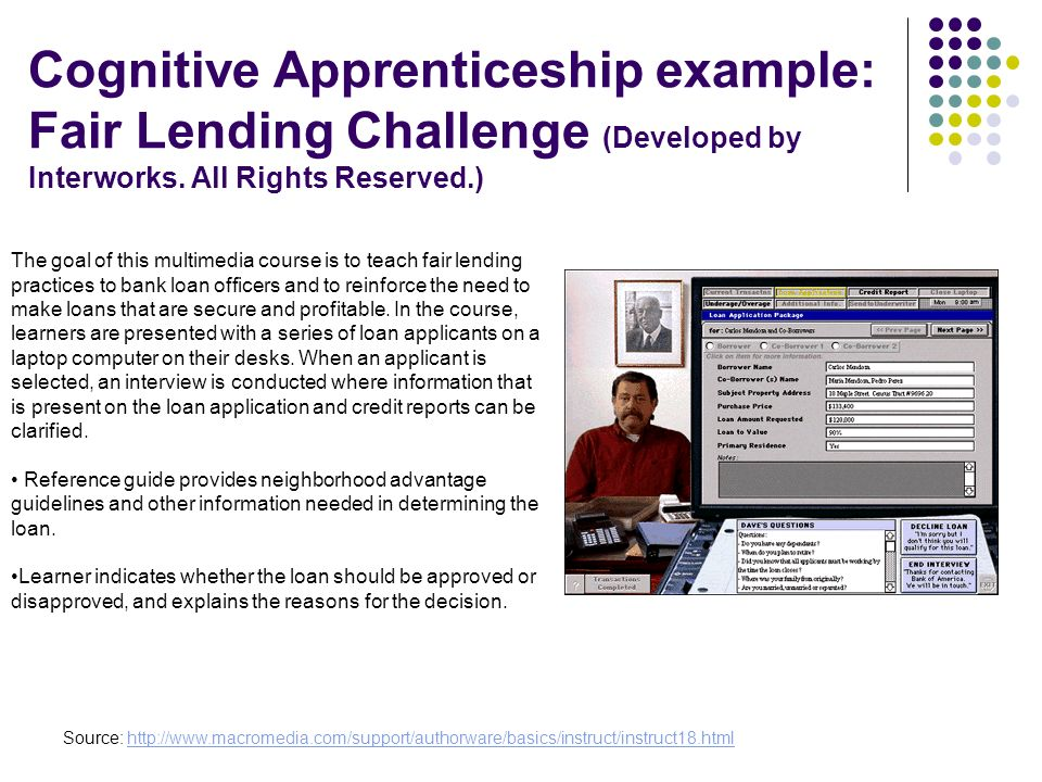 Cognitive Apprenticeship example: Fair Lending Challenge (Developed by Interworks. All Rights Reserved.)