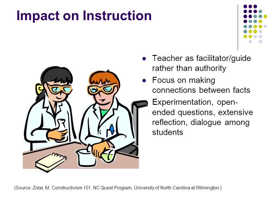 Impact on Instruction Teacher as facilitator/guide rather than authority. Focus on making connections between facts.