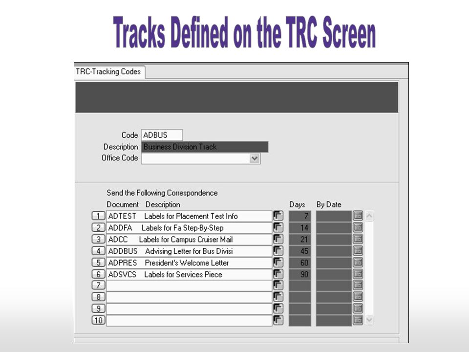 Tracks Defined on the TRC Screen