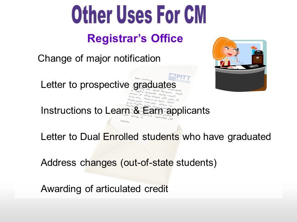 Other Uses For CM Registrar's Office Letter to prospective graduates