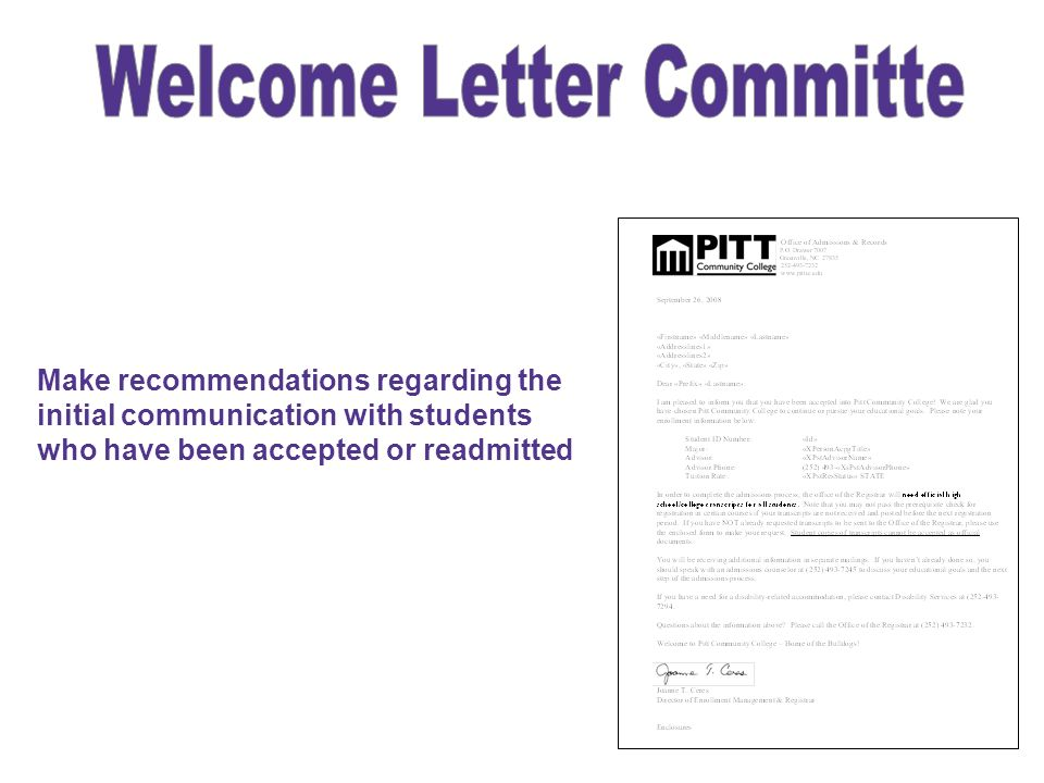 Welcome Letter Committe