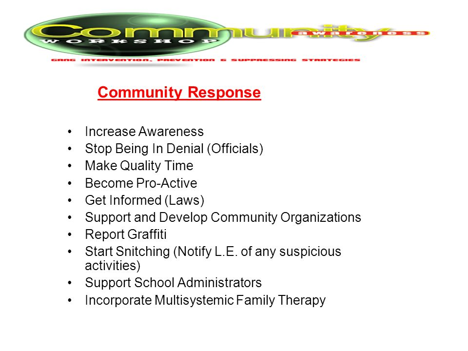 Community Response Increase Awareness Stop Being In Denial (Officials)